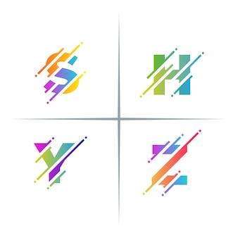Conjunto colorido de design de logotipo de letras de corte de pixel colorido