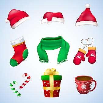 Conjunto colorido de diferentes elementos de natal, principalmente nas cores vermelho e verde