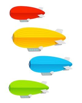 Conjunto colorido de dirigível. conceito de logística
