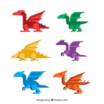 Conjunto colorido de dragões com design plano