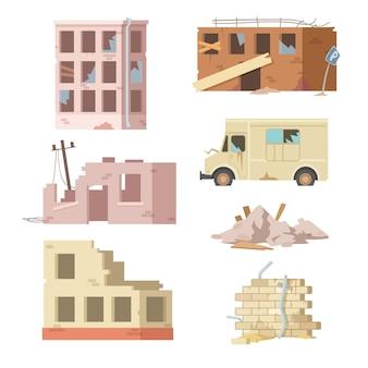 Conjunto colorido de edifícios e automóveis em ruínas. ilustração de desenho animado