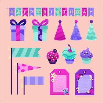 Conjunto colorido de elementos de álbum de recortes de aniversário