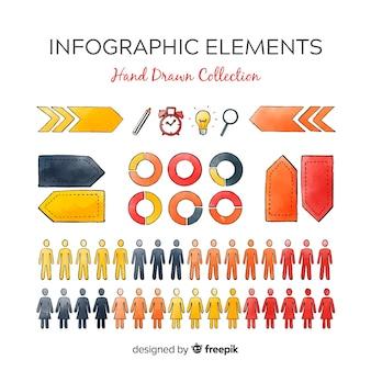 Conjunto colorido de elementos de infográficos mão desenhada