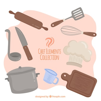 Conjunto colorido de elementos do chef com design plano