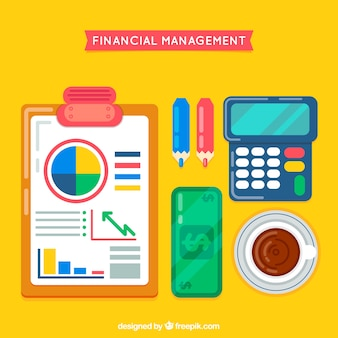 Conjunto colorido de elementos financeiros
