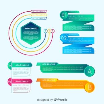 Conjunto colorido de elementos infográfico com estilo gradiente