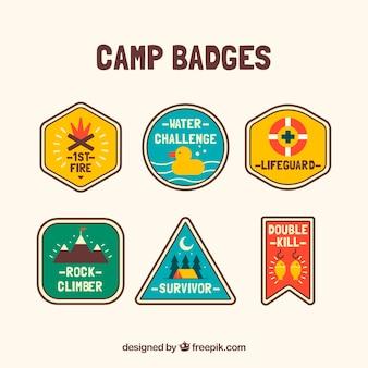 Conjunto colorido de emblemas de acampamento