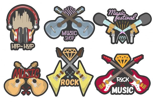 Conjunto colorido de emblemas de tema de música