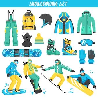 Conjunto colorido de equipamento de snowboard
