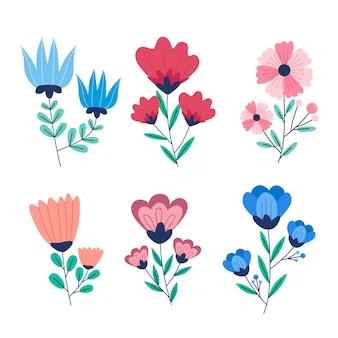 Conjunto colorido de flores em flor