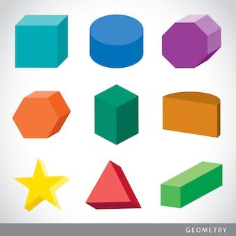 Conjunto colorido de formas geométricas, sólidos platônicos