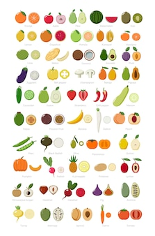 Conjunto colorido de frutas e vegetais inteiros e cortados