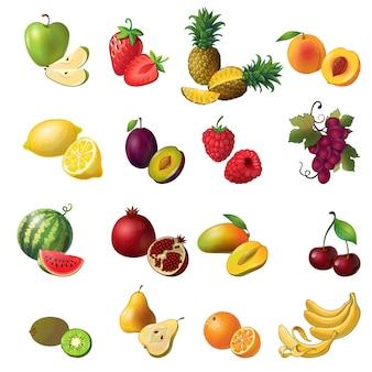 Conjunto colorido de frutas isolado com frutas e bagas de várias cores e tamanhos