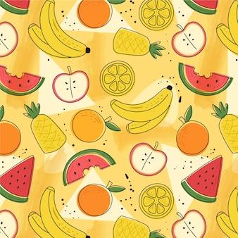 Conjunto colorido de frutas padrão