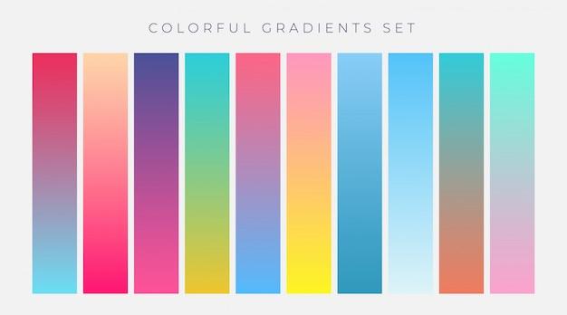 Conjunto colorido de gradientes vibrantes ilustração vetorial