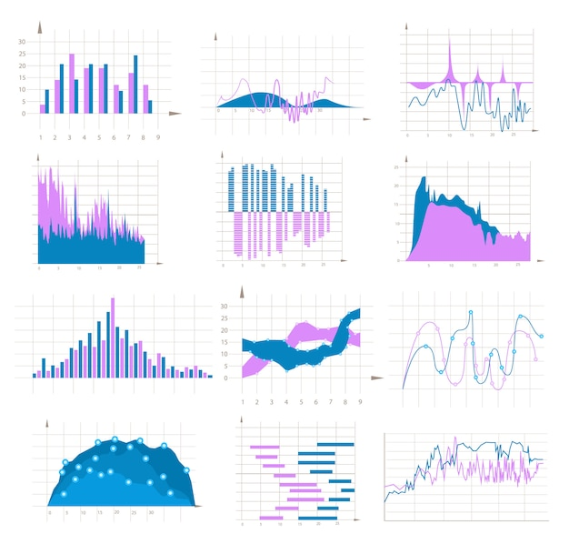 Conjunto colorido de gráfico e gráfico