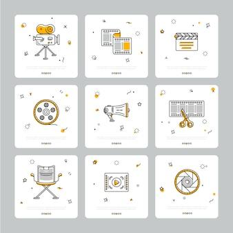 Conjunto colorido de ícones cinematográficos em cinza