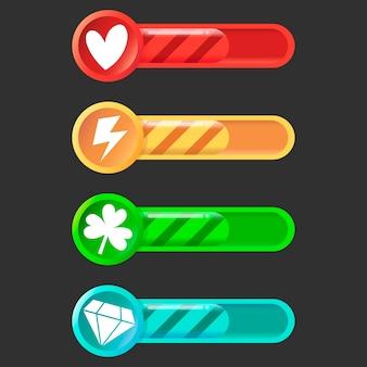 Conjunto colorido de ícones de status, progresso das barras de carregamento