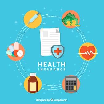 Conjunto colorido de ícones do seguro de saúde