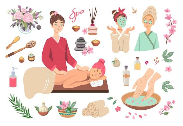 Conjunto colorido de ilustração de desenhos animados de símbolos de spa