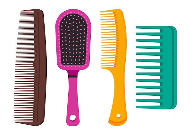 Conjunto colorido de ilustração de pentes de cabelo diferente