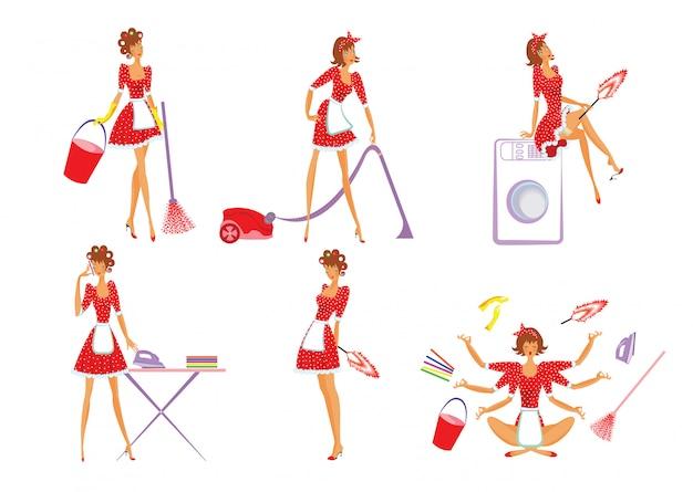 Conjunto colorido de limpeza doméstica