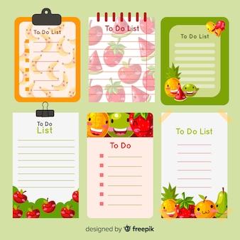 Conjunto colorido de listas de tarefas