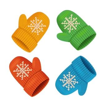 Conjunto colorido de luvas de inverno. acessório sazonal. ilustração vetorial