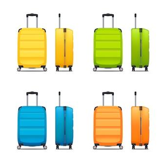 Conjunto colorido de malas de plástico modernas com rodas e alça retrátil