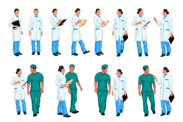 Conjunto colorido de médico