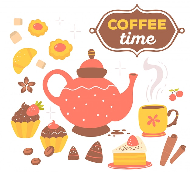 Conjunto colorido de objetos de tema café vermelho e amarelo com texto em moldura marrom isolado no fundo branco com estrela. Vetor Premium