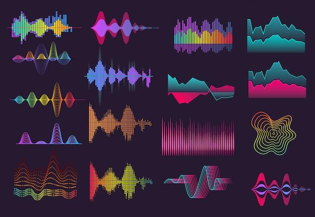 Conjunto colorido de ondas sonoras