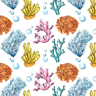 Conjunto colorido de padrão de corais