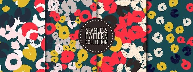 Conjunto colorido de padrões contínuos com diferentes formas e texturas