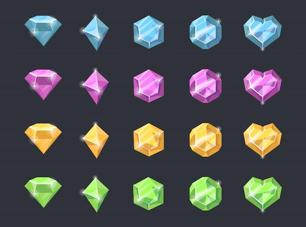 Conjunto colorido de pedras preciosas