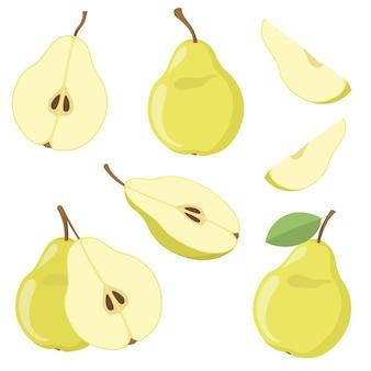 Conjunto colorido de peras suculentas verdes. ilustração de desenho animado