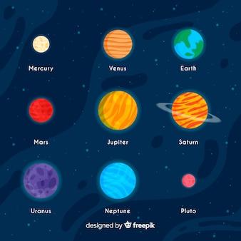 Conjunto colorido de planetas planas