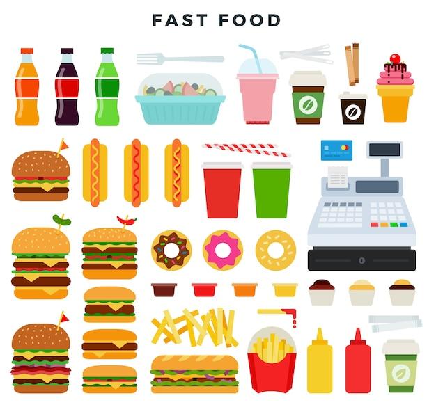 Conjunto colorido de produtos de fast food