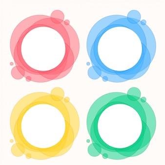 Conjunto colorido de quadros redondos de círculo