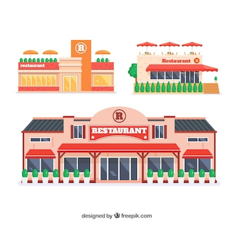 Conjunto colorido de restaurantes com design plano