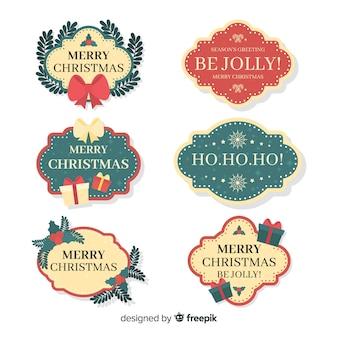 Conjunto colorido de rótulos de natal com design plano