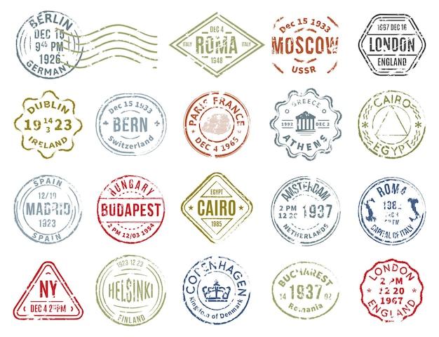 Conjunto colorido de selos postais