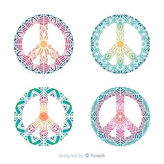 Conjunto colorido de símbolos de paz modernos