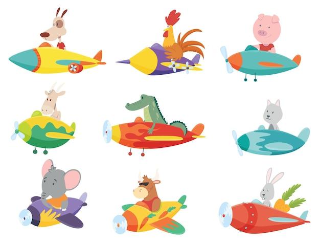 Conjunto colorido de transporte de crianças com bichinhos fofos voando em aviões.