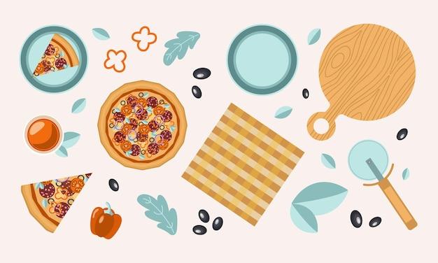 Conjunto colorido de uma pizza inteira, uma fatia, ingredientes uma tábua de cortar e outros objetos