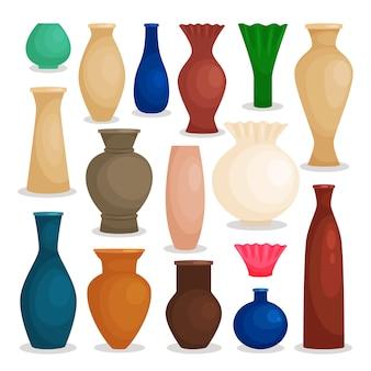 Conjunto colorido de vasos