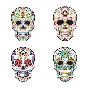 Conjunto colorido dos crânios do dia dos mortos