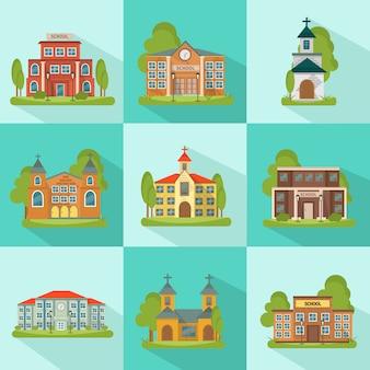 Conjunto colorido e isolado de construção com edifícios municipais da igreja escolar nas praças