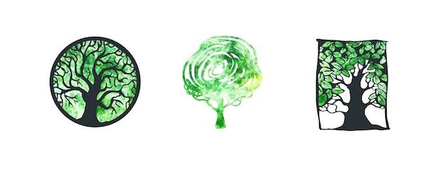 Conjunto colorido em aquarela de vetor de ícones e logotipo de árvore modelos de design etiquetas e logotipo