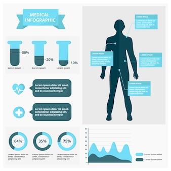 Conjunto colorido infográfico médico